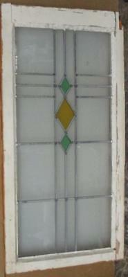 LARGE OLD ENGLISH LEADED STAINED GLASS WINDOW Pretty Cross Diamonds 19 x 37.75""