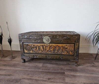 Large Carved Camphor Wooden Timber Chest Storage Blanket Box, 88cm Width