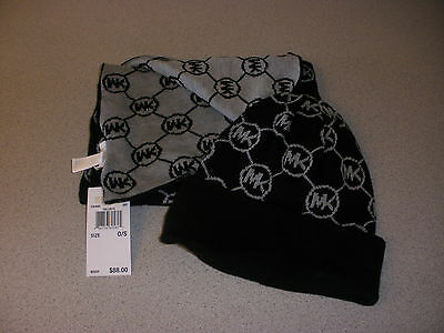Michael Kors Signature Logo Hat Scarf Gift Set MSRP $88 BLACK/GRAY