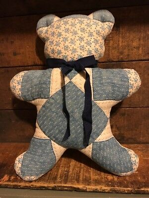 Vintage Primitive Hand Made Quilted Teddy Bear Reversible
