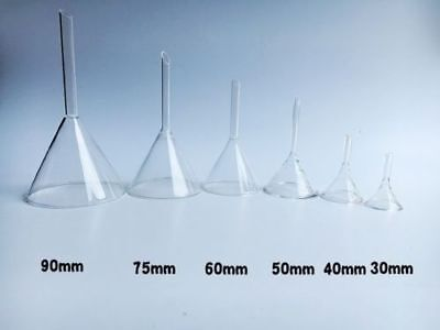 Siz 30/40/50/60/75/90mm  Laboratory-Funnel-Short-Stem-Thick-Clear-Glass Multiple