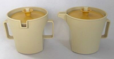 Tupperware Creamer Sugar Set Almond Harvest Gold Seal 1414 1415 Camping Boating