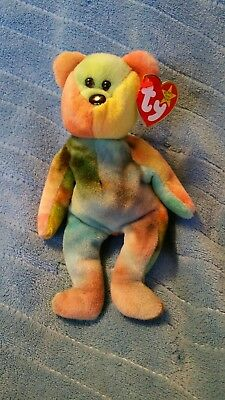 Ty beanie babies Garcia Blue, yellow, purple and orange right ear