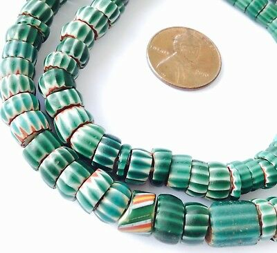 Rare Old Venetian Antique Green Sliced Chevron African Glass Trade beads