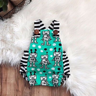 Newborn Baby Boy Girl Romper Bodysuit Jumpsuit Backless Clothes Outfits Summer