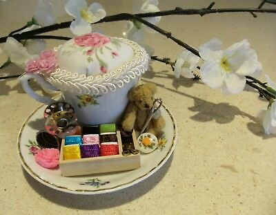 Unique handmade teacup pin cushion pin keep sewing gift OOAK teddy bobbin white