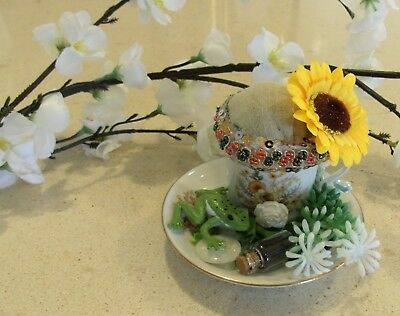 Unique handmade teacup pin cushion pin keep sewing gift OOAK frog sunflower