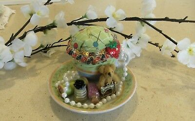 Unique handmade teacup pin cushion pin keep sewing gift OOAK green teddy pearls