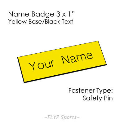 """Name Badge Tag Plate Yellow/Black Safety Pin 3x1"""" Personalised Engraved Custo..."""