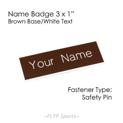 """Name Badge Tag Plate Brown/White Safety Pin 3x1"""" Personalised Engraved Custom..."""