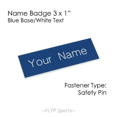 """Name Badge Tag Plate Blue/White Safety Pin 3x1"""" Personalised Engraved Customi..."""