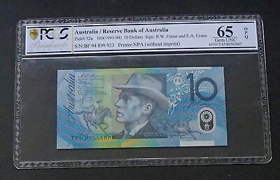 Scarce 1994 Blue Dobell Ten $10 Dollar Note Fraser/Evens PCGS Graded 65 Gem UNC