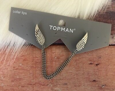 Topman Collar Tips Wings Chain Silver Tone New With Tags