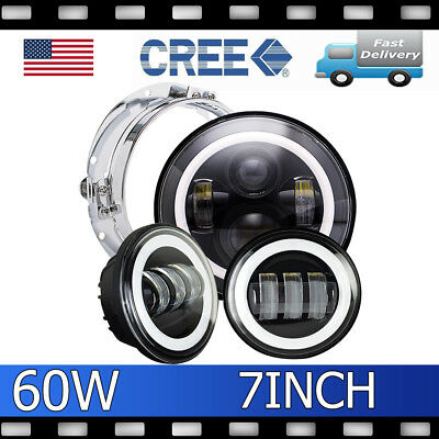 "7"" LED Projector Daymaker Headlight + Passing Lights For Harley Touring"
