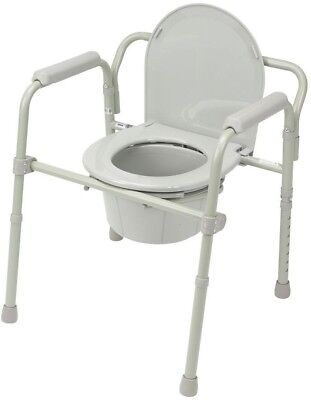 Bedside Commode Folding Steel Portable Transport Senior Toilet Chair Seat Safety