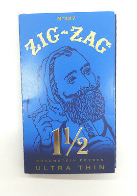 1 LOT 24 PK Zig Zag Blue Ultra Thin 1.5 1 1/2 Cigarette Rolling Paper Authentic