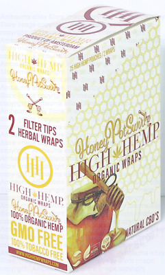 1 BOX HIGH HEMP WRAPS 2 FT WARPS PACK TOTAL 50 WRAP Organic Honey