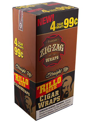 1 BOX ZIG ZAG CIGAR RILLO WRAPS 4 WARPS PACK  TOTAL 60 WRAPS BOX Straight Up