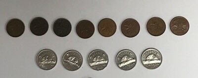 13 Older Canada 5 cent and 1 cent coin lot circulated