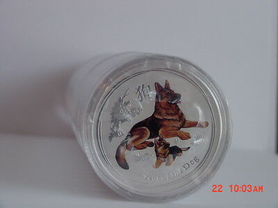 2018 Australia Lunar Year Of The Dog $1 Colorized/colored 1 Oz Silver Bu New