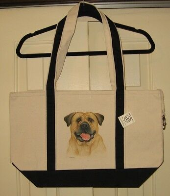 Bullmastiff Large Heavy Canvas Tote Bag-New With Tags- Hand Painted