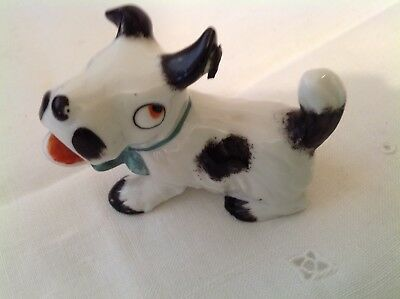 Vintage Porcelain Dog Figurine With A Fly On His Ear