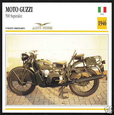 1946 Moto Guzzi 500cc Superalce Army Military Motorcycle Photo Spec Info Card