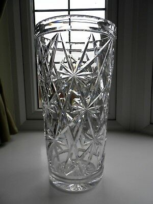 Large Royal Brierley Cut Crystal Glass Vase - 12 inches