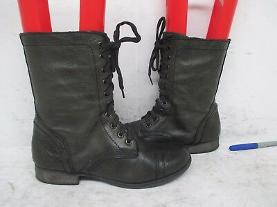 47b9a927d14 Steve Madden Troopa Black Leather Zip Lace Up Combat Boots Womens Size 8 M