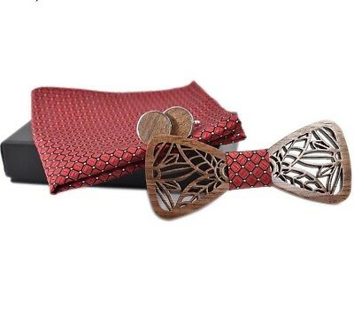 Wooden Bow Tie Set For Men With Cufflinks And Handkerchief Formal Suit Accessory