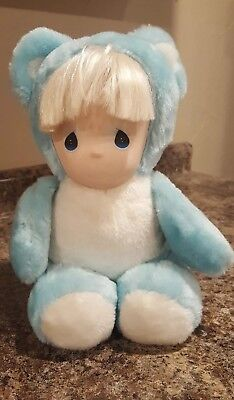 Vntg Precious Moments Plush Teddy Bear Doll Face- Soft Big Blue Tear Drop Eyes