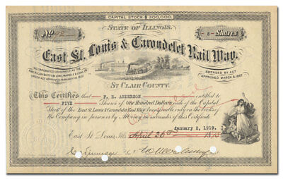 East St. Louis & Carondelet Rail Way Company Stock Certificate