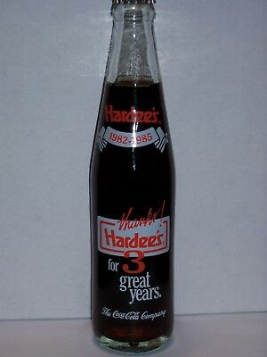 10 Oz Coca Cola Commemorative Bottle - 1986 Hardee's Thanks For 3 Great Years
