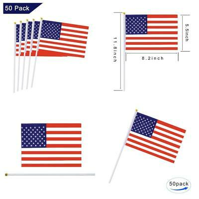 e469c1de839c 50 Pack Usa American Stick Flag Small Mini Hand Held Us Flags With Plastic  Pole