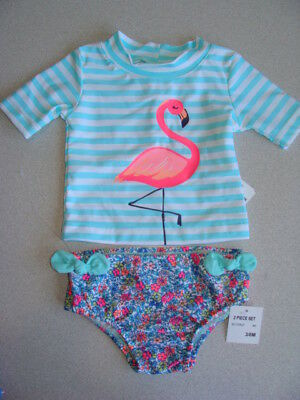 NEW Carter's 2 pc Swimsuit Flamingo Girl's size 3-6 mo