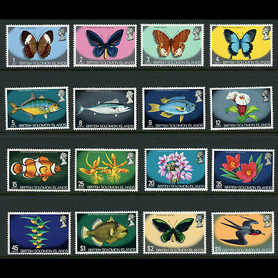 SOLOMON ISLANDS 1972 Set of 16 Values. SG 219-233a. Fish Butterflies MLH (AF257)