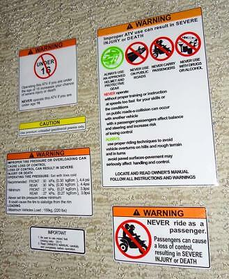 Yamaha Banshee Warning Symbols Decals Stickers Labels Graphics 6pc
