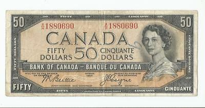 Rare Canadian 1954 Vintage Edition Devil Face 50 Dollar Bill Currency Note