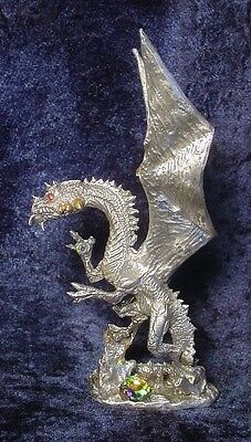 Pewter Dragon - Large with Crystal Accents