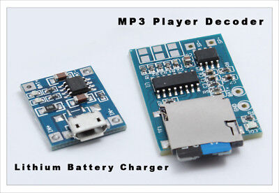 2pc KIT: MP3 Player Decoder Micro SD Decoding Module Amplifier Lithium charger