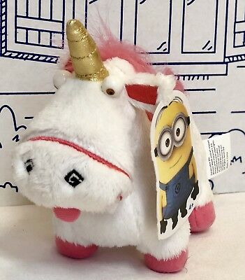 New Despicable Me 2 Plush Fluffy Unicorn Doll Thinkway Toys White Pink Minions N