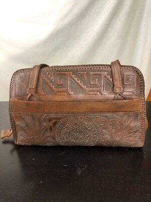 Vintage 1950's ASTRO Hand Tooled Embossed Leather/ Purse Mexico Scrolling