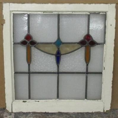 "OLD ENGLISH LEADED STAINED GLASS WINDOW Alluring Floral Abstract 21.5"" x 22"""