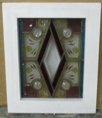 OLD ENGLISH LEADED STAIN GLASS WINDOW 1880 Victorian Handpainted Bevel 9.75 x 12