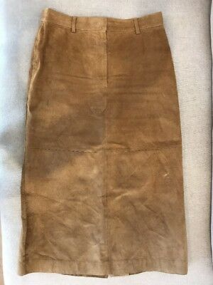 Stunning Queenspark Tan Long Suede Skirt - Size 12 - Excellent Condition