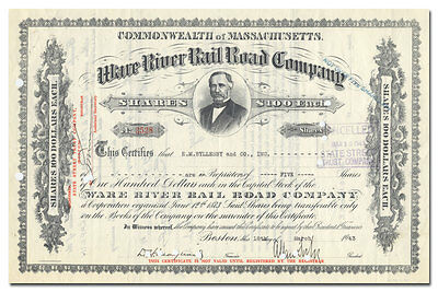 Ware River (Massachusetts) Rail Road Company Stock Certificate