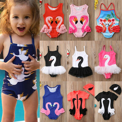 USA Baby Girls Swan Swimsuit Bikini Tutu Dress Swimwear Ruffle Swimming Costume