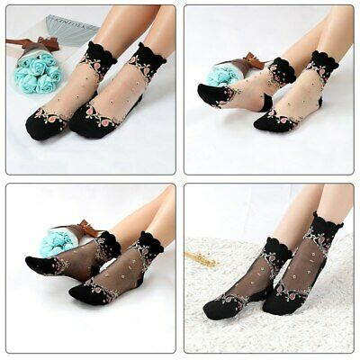 Crystal Glass Silk Short Socks Women Transparent Thin Roses Flower Lace Socks