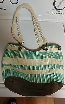 Thirty-One Gifts Canvas Crew Mini+Rope Straps Turquoise Straw Stripe - Thirtyone
