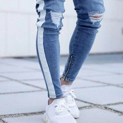 Mens Slim Ripped Jeans Side Stripes Zipper Denim Pants Skinny Trousers Blue New